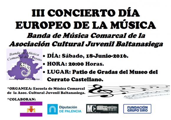 Cartel Concierto Día Europeo de la Música en el Museo del Cerrato. Junio-2016.
