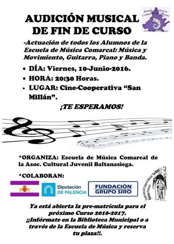 Cartel Concierto Fin de Curso. Junio-2016.