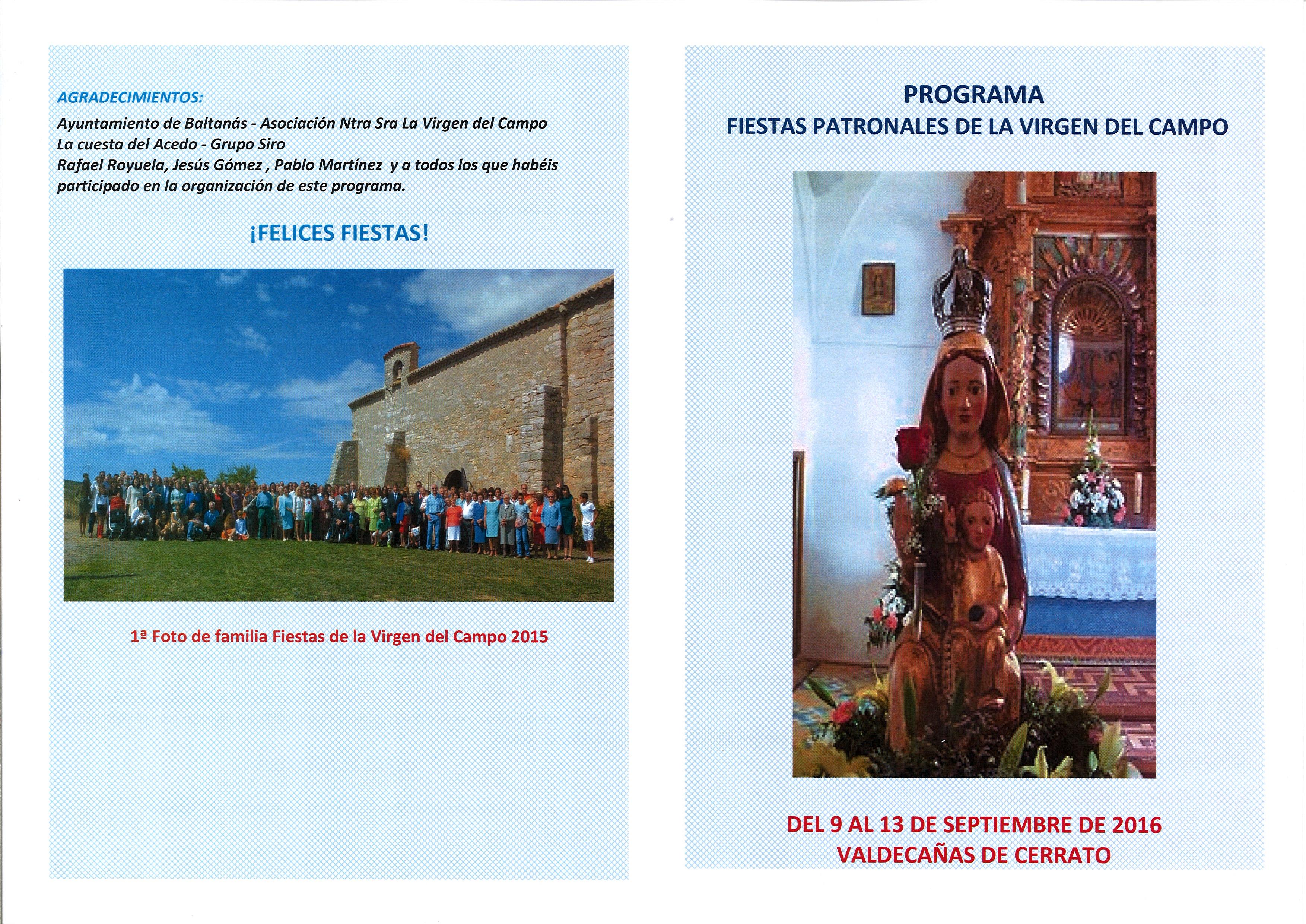 Programa Fiestas Patronales de la Virgen del Campo de Valdecañas de Cerrato
