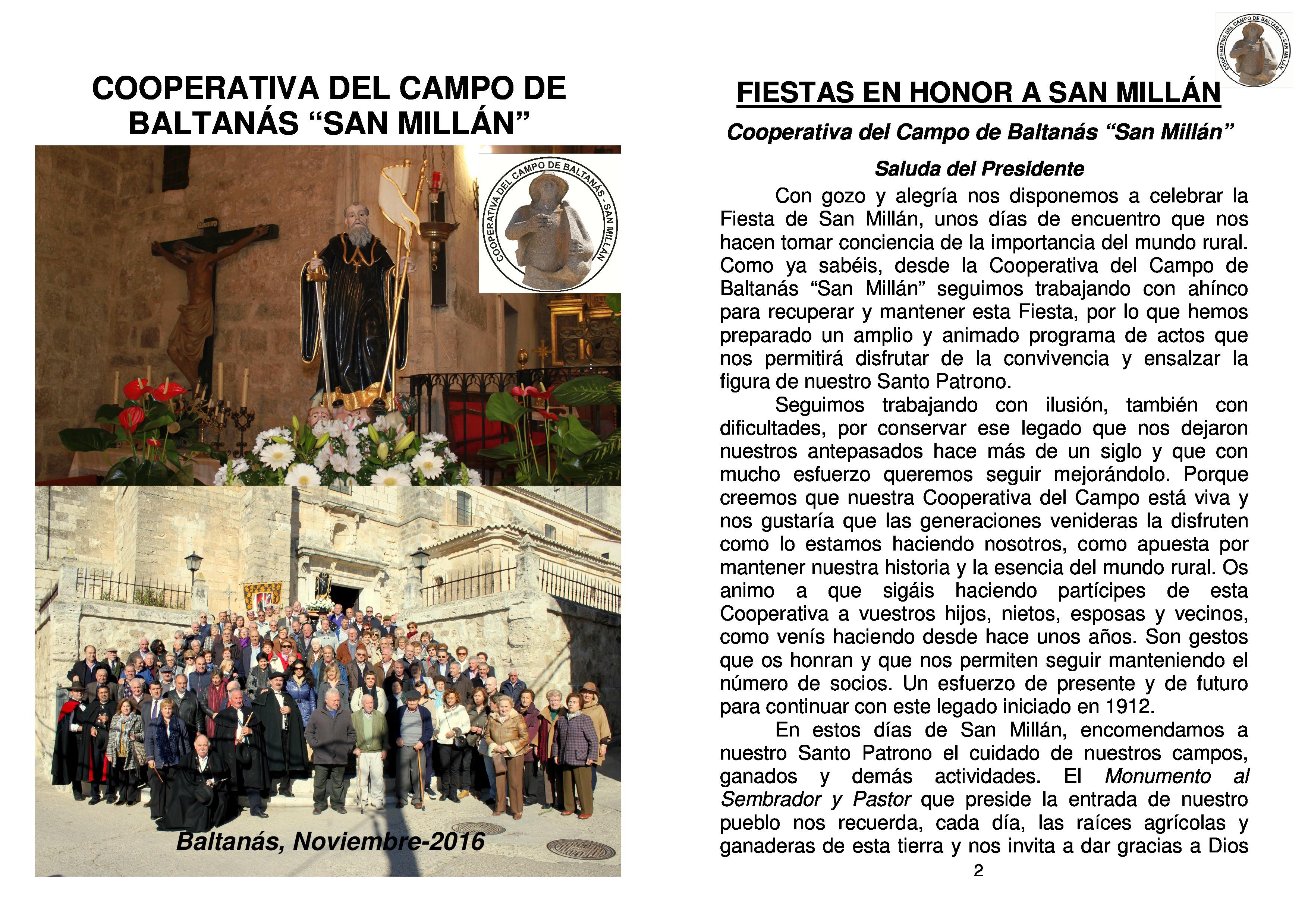 Programa de actos festividad de San Millán 2016