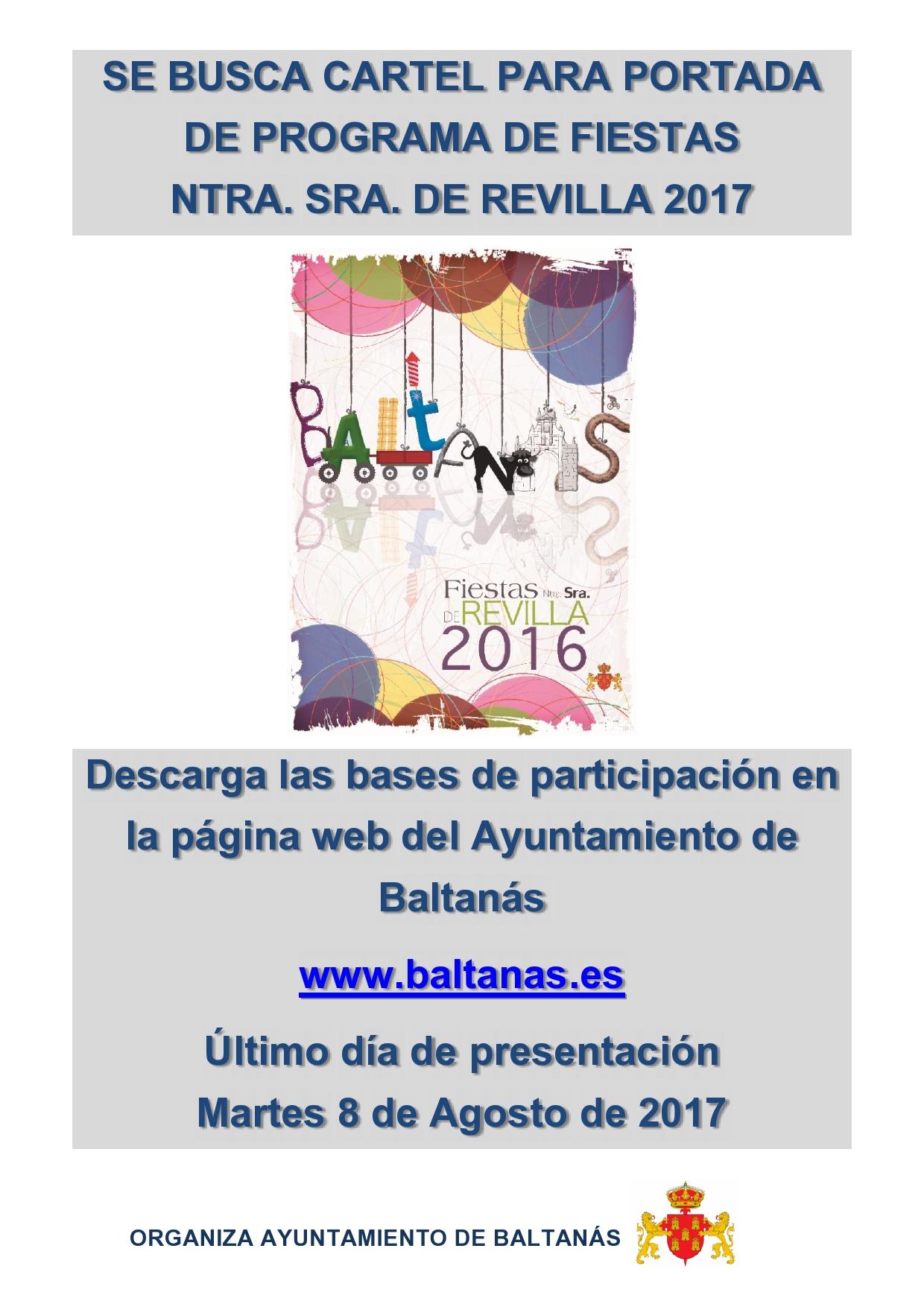 SE BUSCA CARTEL PARA PORTADA DE PROGRAMA DE FIESTAS  NTRA. SRA. DE REVILLA 2017