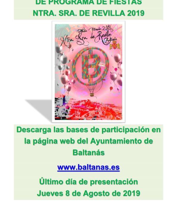 CARTEL PORTADA PROGRAMA FIESTAS NTRA. SRA. DE REVILLA 2019